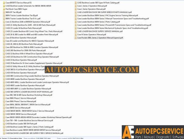 Case Backhoe Loader Service Manual, Operators Manual & Parts Manual