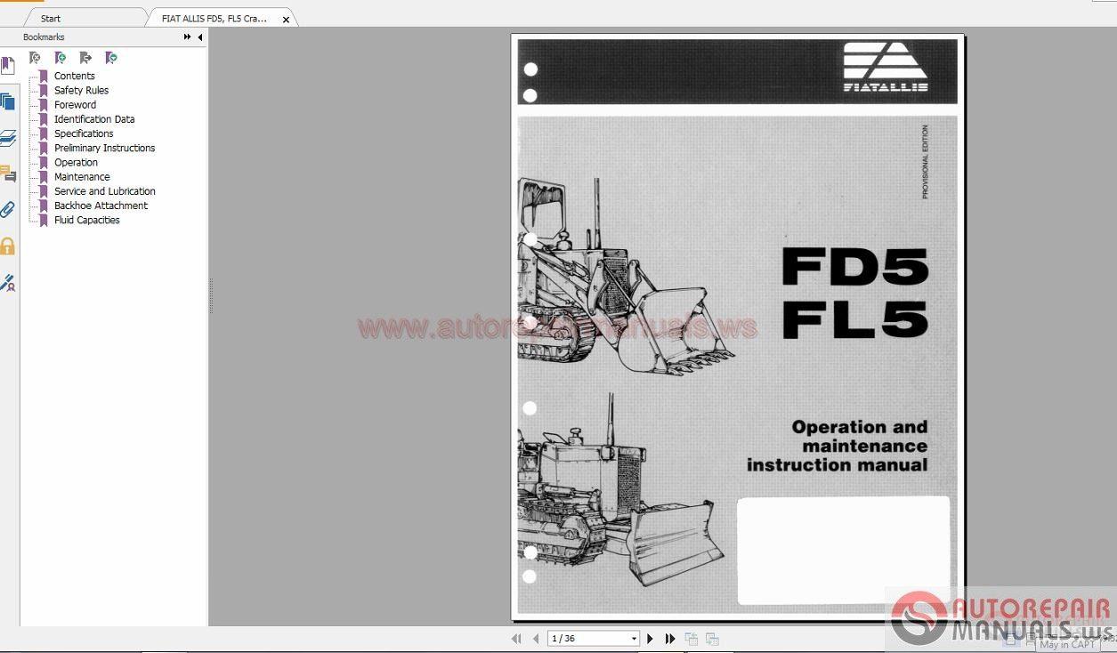 FIAT ALLIS Full Shop Manual DVD