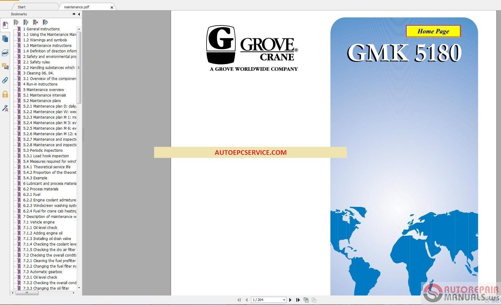 Grove Mobile Cranes GMK Models Full Service & Maintenance Manual DVD – Auto  Repair Software-Auto EPC Software-Auto Repair Manual-Workshop Manual-Service  ...