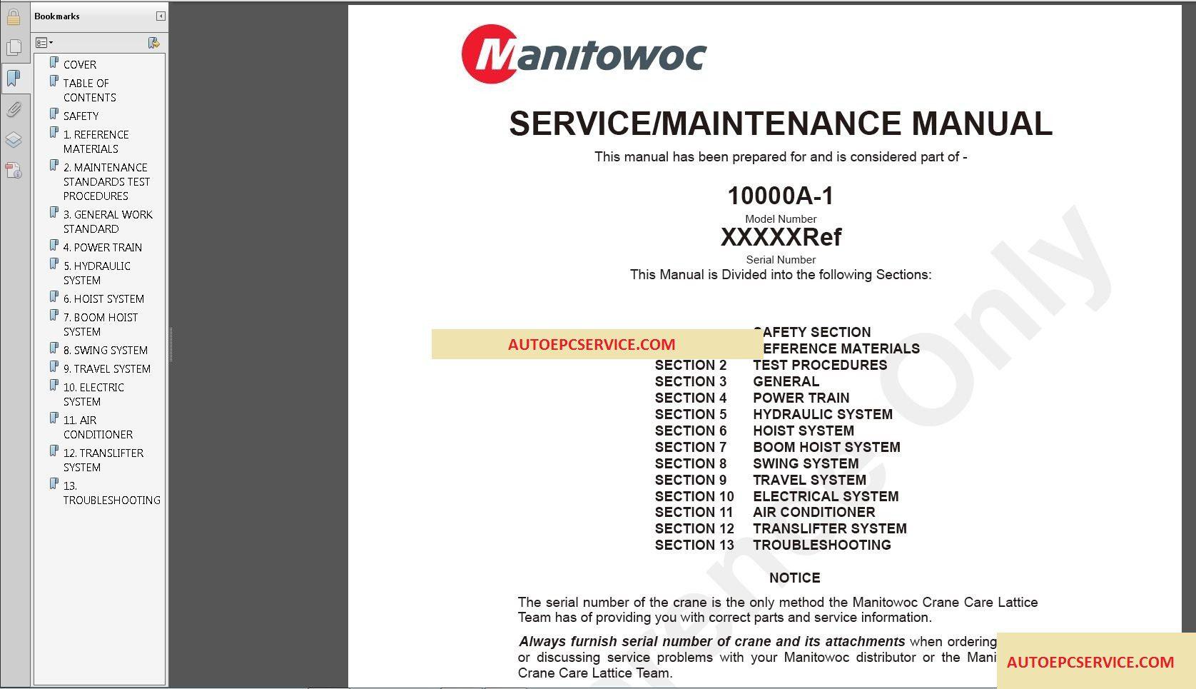 Manitowoc Crane Opertation & Service Manual