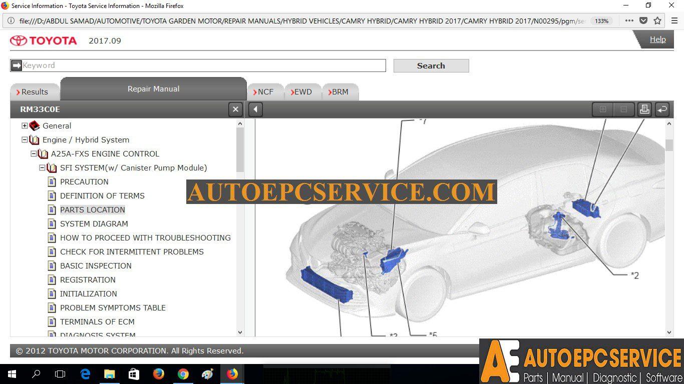 Toyota Camry Hybrid 2017 Gsic Repair Manual