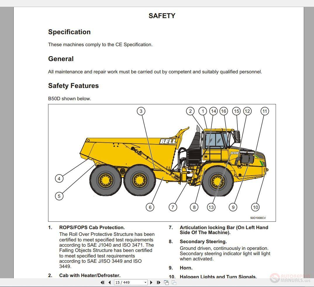 Bell Dump Truck Part And Repair Manual