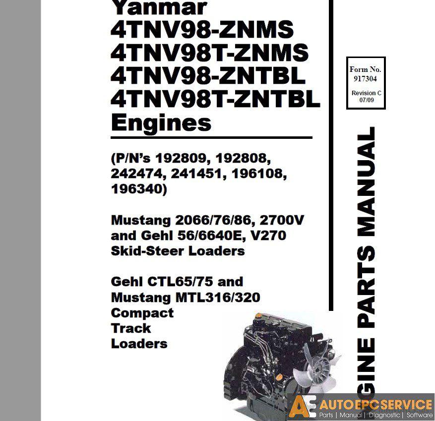 Yanmar Operation & Maintenance Manual, Service Manual, Wiring Diagrams  Parts Catalog CD