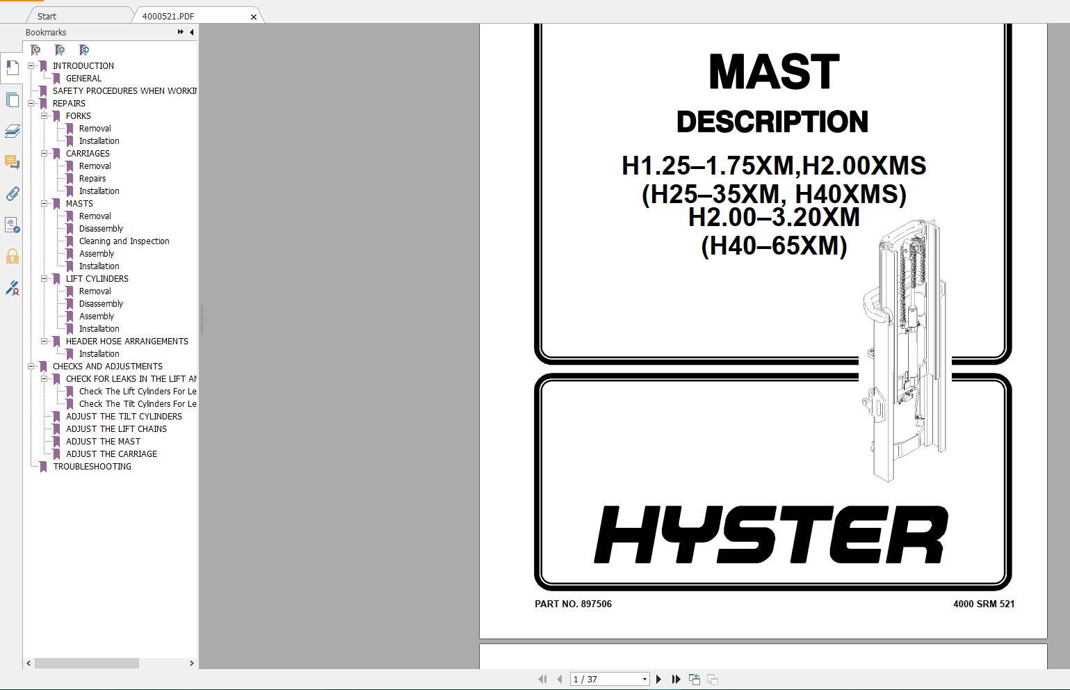 Hyster Forklift Class 5 Internal Combustion Engine Trucks Repair Manuals