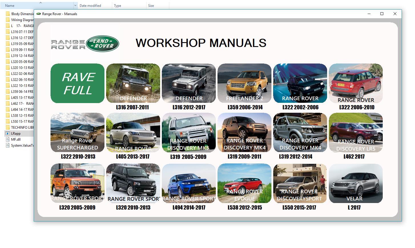 Landrover Ranger Rover 2003-2018 Workshop Manual DVD