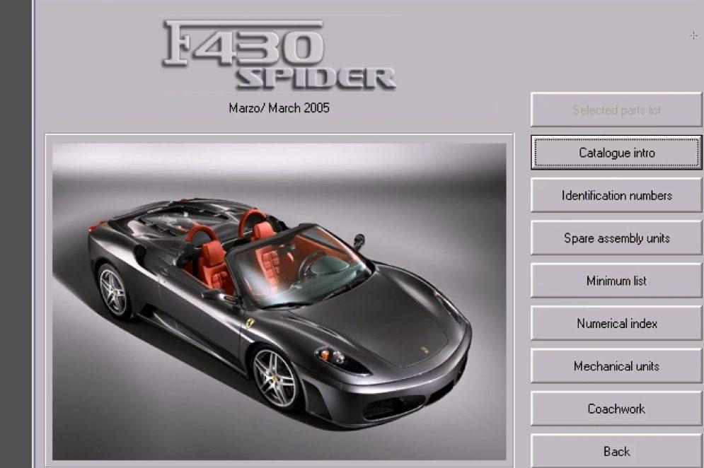 Parts and Owners Manuals for 1999-2005 models. Ferrari 360 Modena Workshop