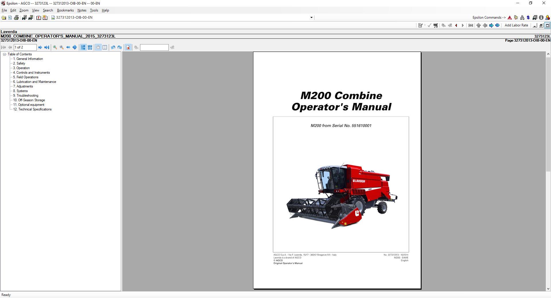 Laverda 2350 LX parts catalog in PDF format