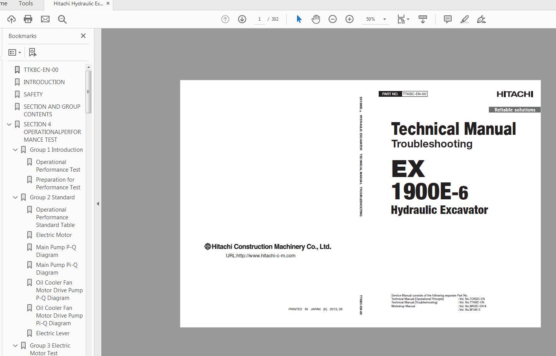 Hitachi Hydraulic Excavator EX1900E-6 Technical Manual  TTKBC-EN-00(201040731)