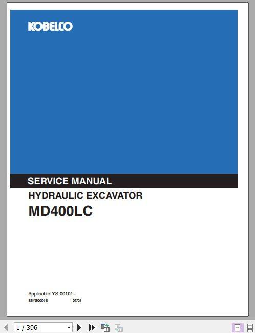 Kobelco Hydraulic Excavator Md450blc Service Manual