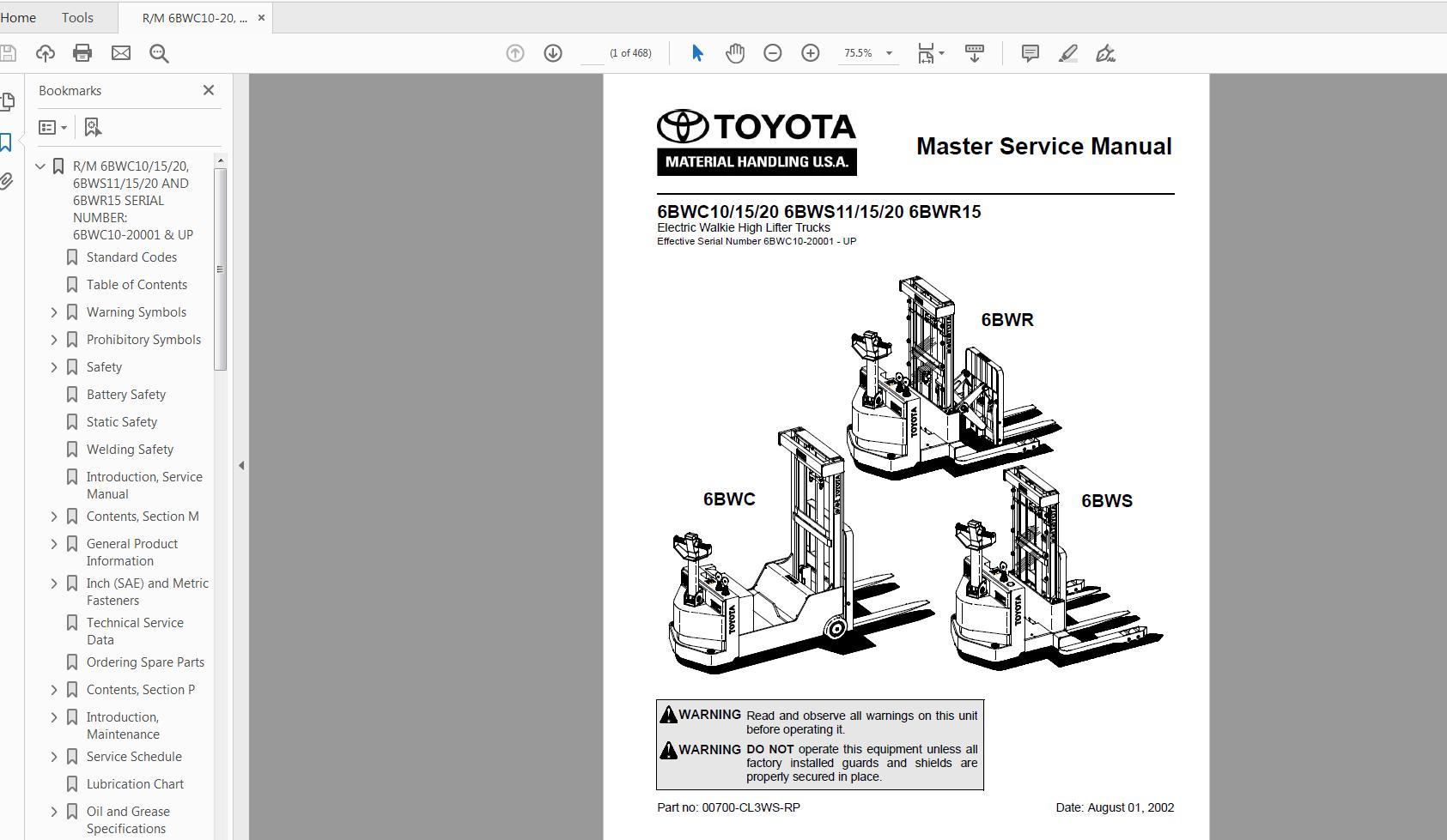 Toyota Forklift 6bwc10 15 20  6bws11 15 20  6bwr15 Master