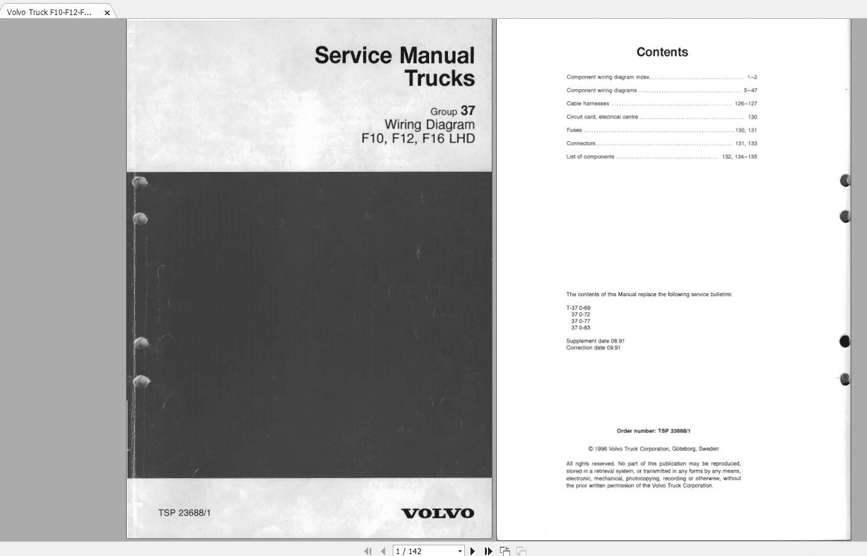 Volvo Truck F10-f12-f16-lhd Wiring Diagram Tsp-23688-1