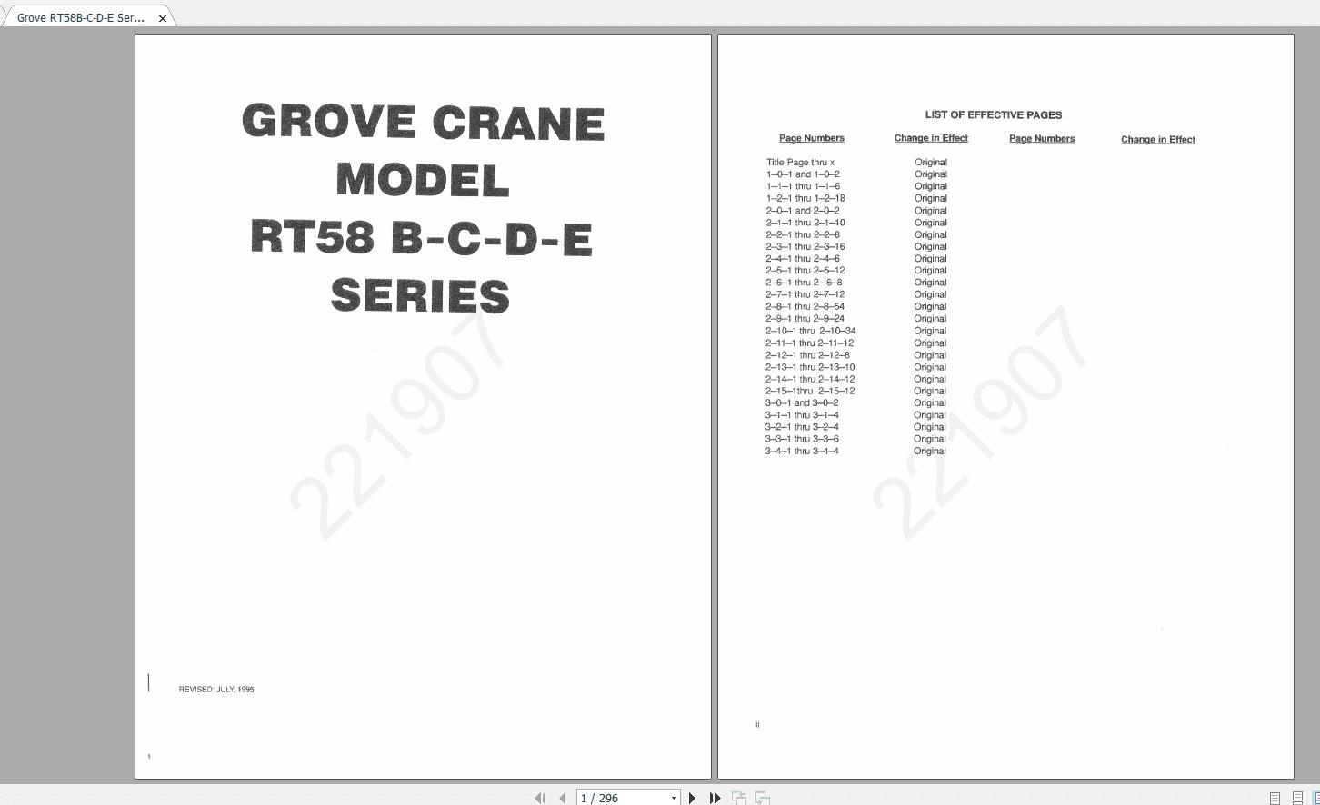 Grove Cranes Series Rt 58b Shop Manuals