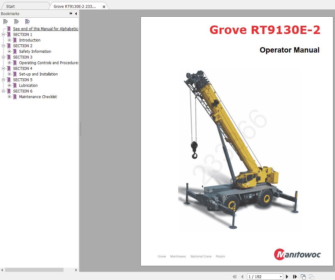 Grove Crane RT9130E Service Parts Manual & Operators ...