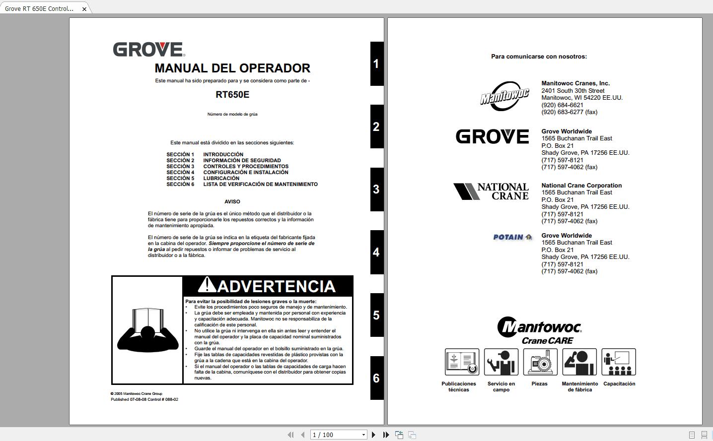Grove Crane Rt 600e 640e 650e Shop Manuals