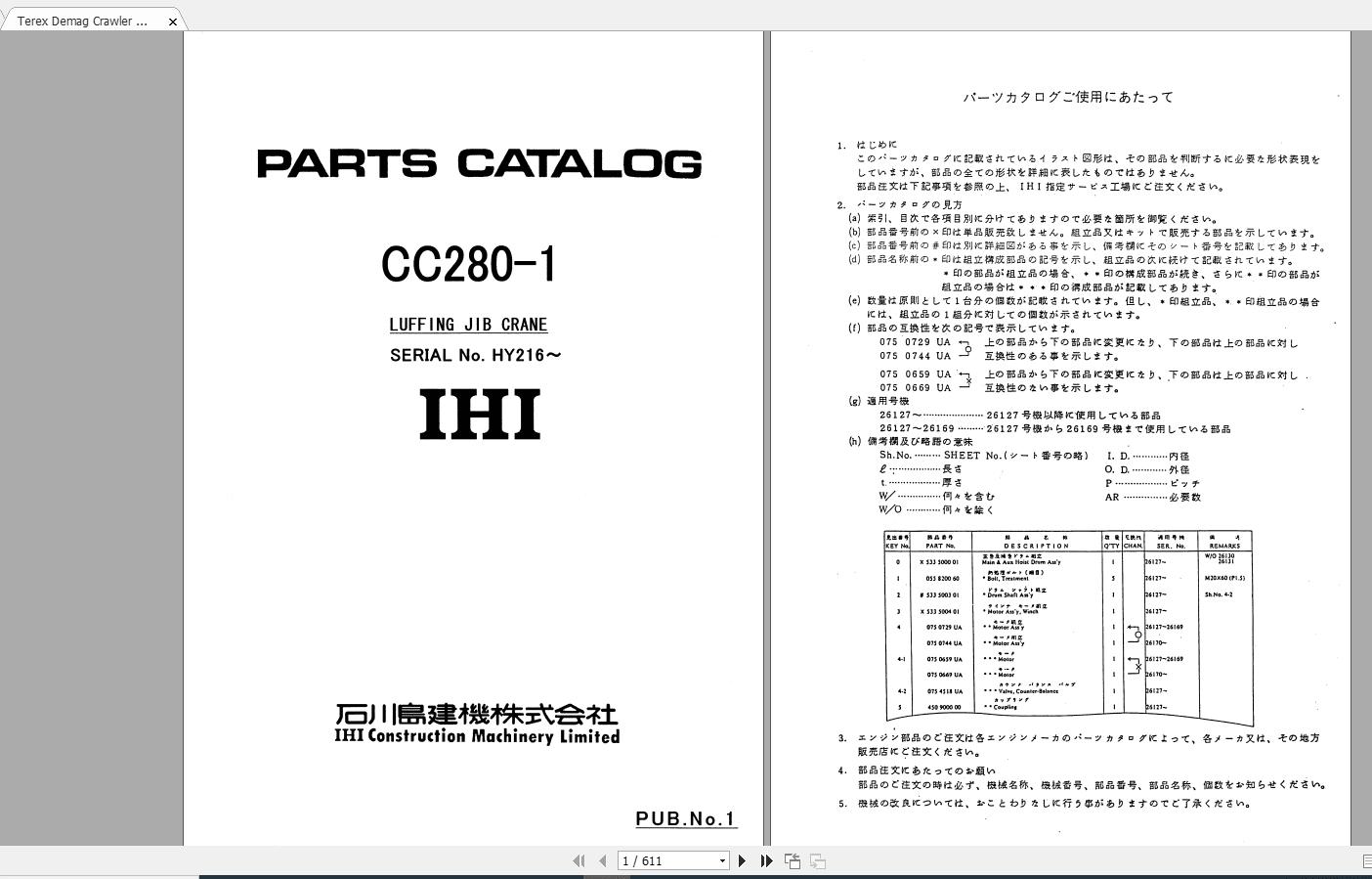 Terex_Demag_Crawler_Crane_CC280-1_HY216_Parts_Catalog