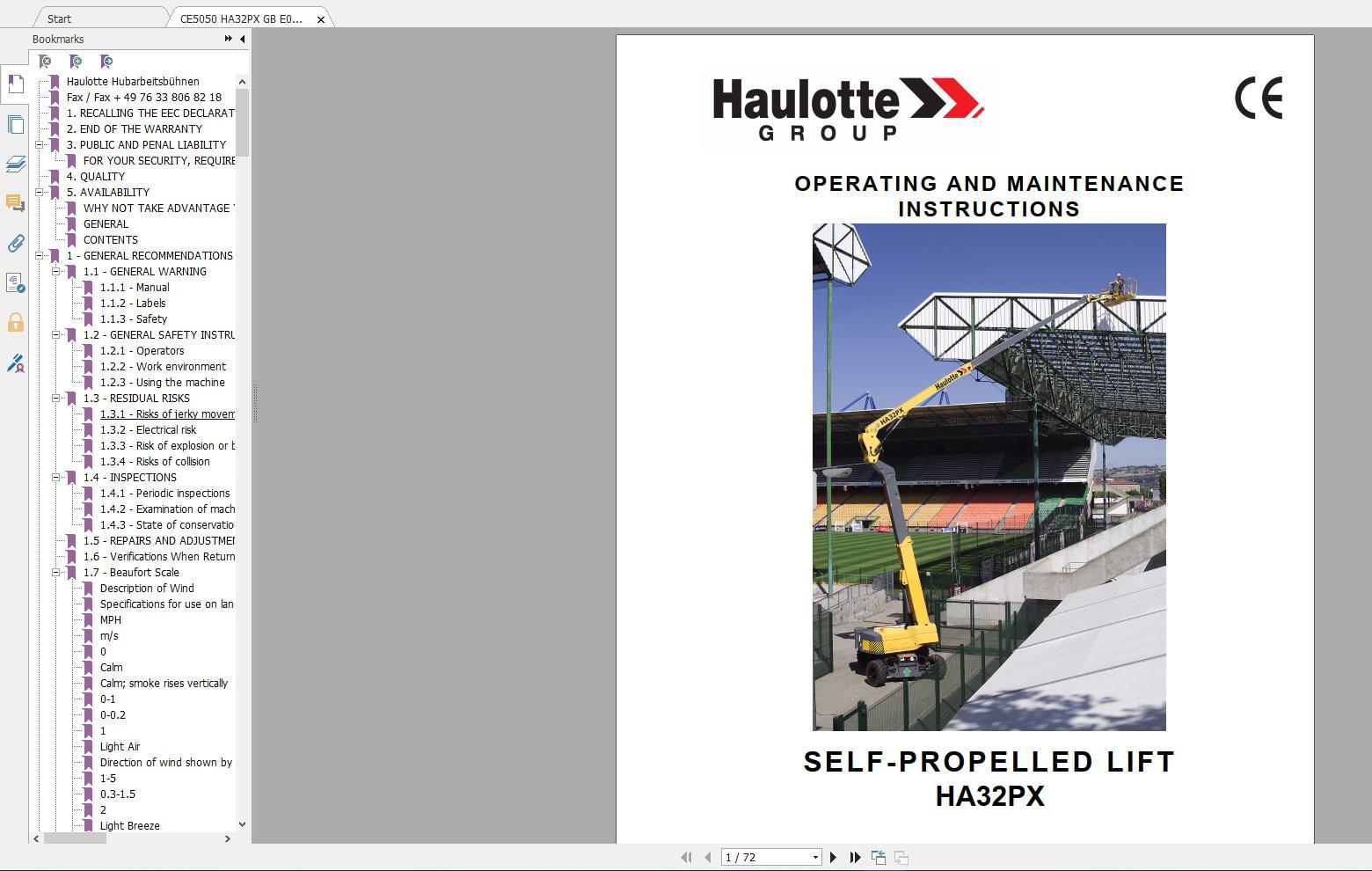 Haulotte_Work_Platforms_and_Telehandlers_Service_Maintenance_Operators_Manual_Training_Spare_Parts_Manual_DVD12