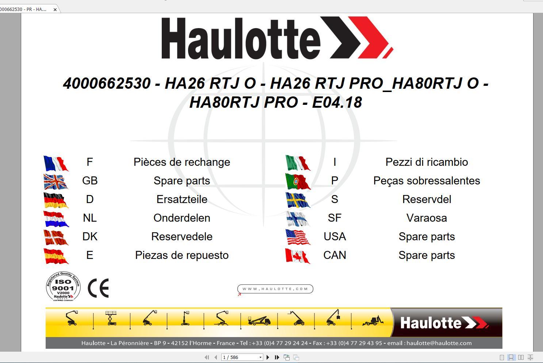 Haulotte_Work_Platforms_and_Telehandlers_Service_Maintenance_Operators_Manual_Training_Spare_Parts_Manual_DVD14