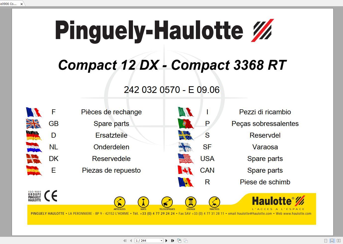 Haulotte_Work_Platforms_and_Telehandlers_Service_Maintenance_Operators_Manual_Training_Spare_Parts_Manual_DVD7