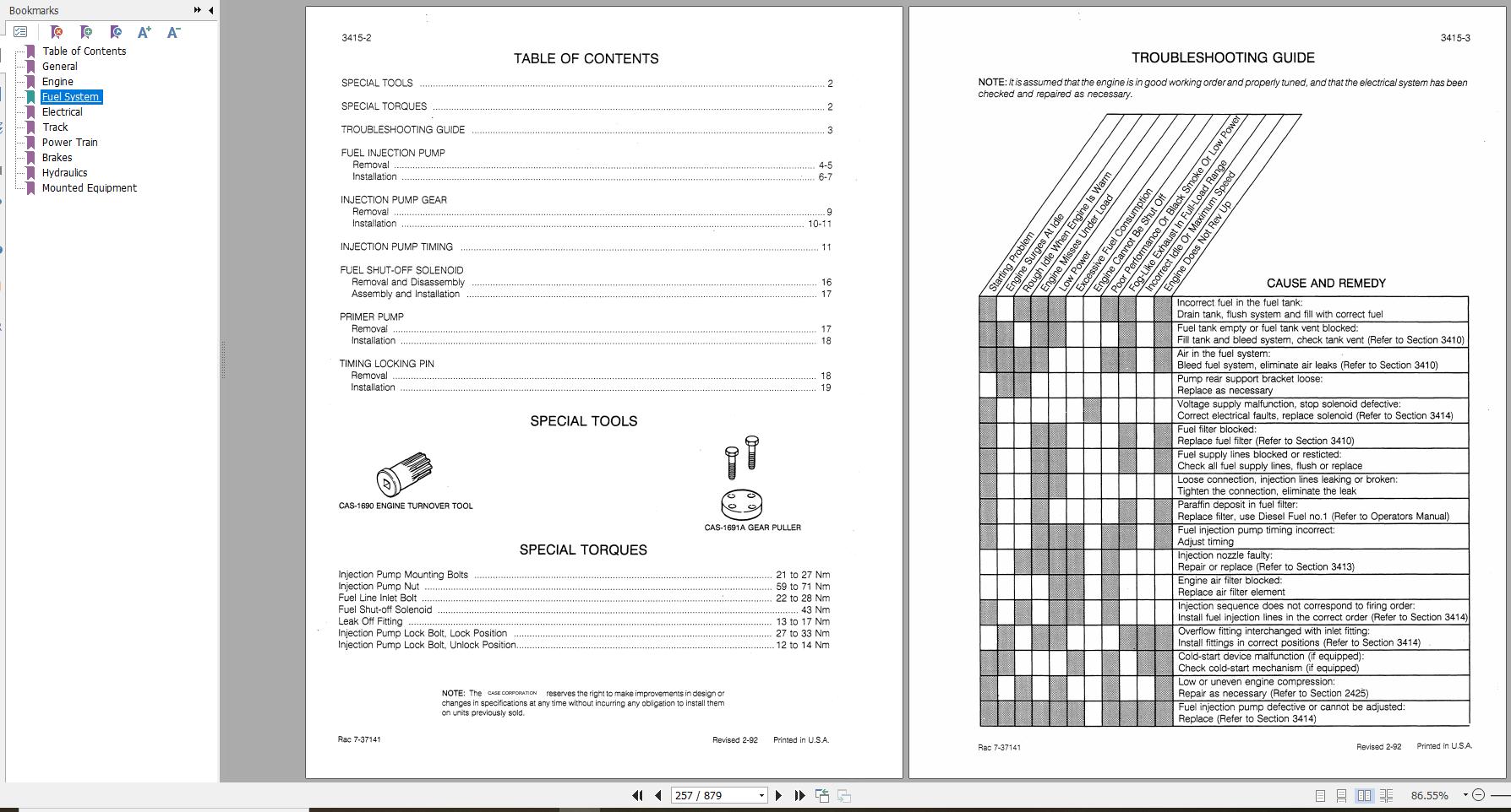 Case Crawler Loader 650 Service Manual 8-11261r0