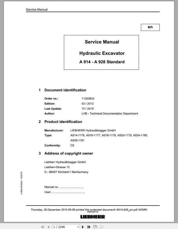 Liebherr Hydraulic Excavators A 914 A 928 Standard Service