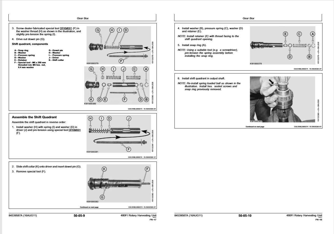 New Holland Harvester 480fi Repair Manual 84539587a A4