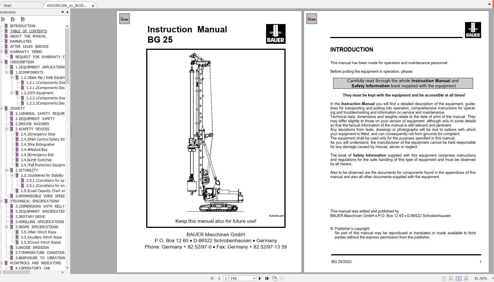 Bauer Bg25  560 Instruction Manuals  Spare Part Lists