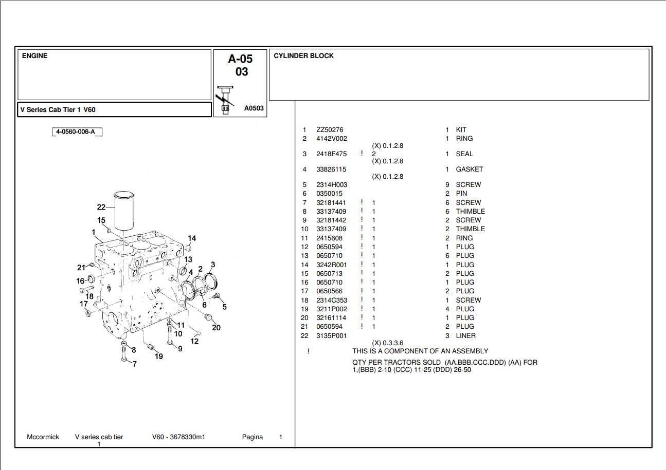 Mccormick Tractor V60 Parts Catalog
