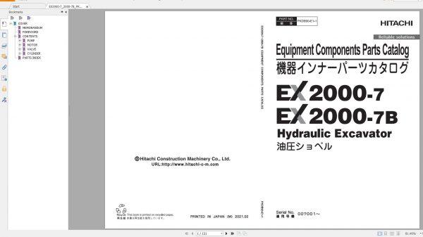 Hitachi-Hydraulic-Excavator-Mining-EX2000-7-EX2000-7B-Equipment-Components-Parts-Catalog