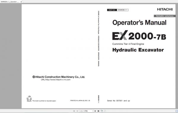 Hitachi-Hydraulic-Excavator-Mining-EX2000-7B-Cummins-Tier-4-Final-Engine-Operator-Manual-1