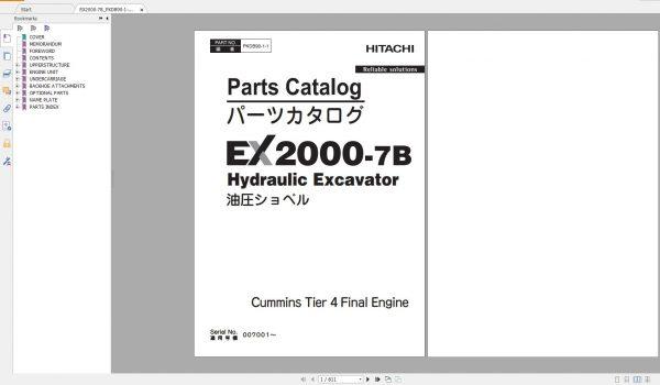 Hitachi-Hydraulic-Excavator-Mining-EX2000-7B-Parts-Catalog-Cummins-Tier-4-Final-Engine